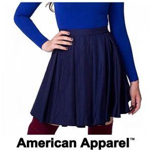 NWOT American Apparel Navy Satin Gore Circle Skirt